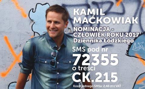 Kamil Maćkowiak nominowany do Nagrody Człowiek Roku Dziennika Łódzkiego